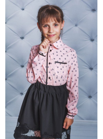 Стильна шкільна блузка із довгим рукавом