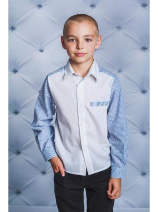 Рубашка школьная белая с полоской