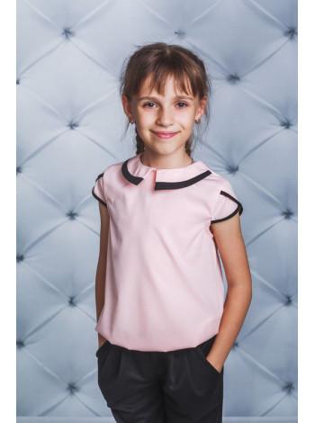 Стильная школьная блузка с коротким рукавом