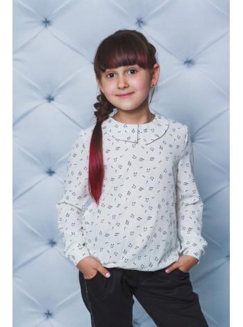 Блузка з довгим рукавом в принт для школи
