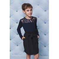 Блузка для дівчинки в школу із мереживом