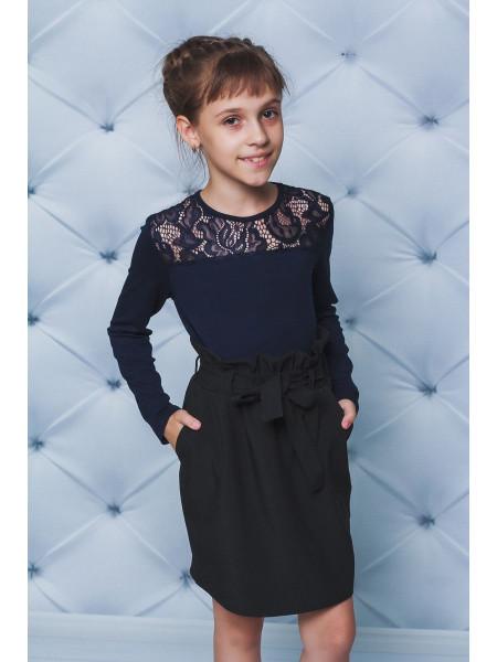 Блузка для девочки в школу с кружевом