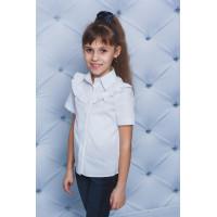 Літня блузка біла із рюшами для школи