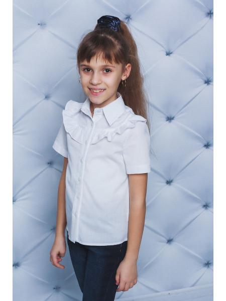 Летняя блузка белая с рюшем для школы