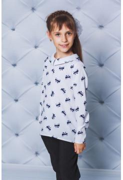 Модная школьная блузка с длинным рукавом в принт