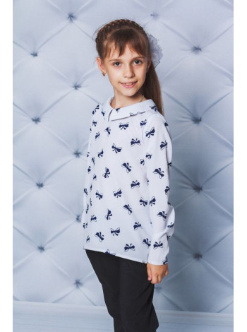 Модна шкільна блузка із довгим рукавом в принт