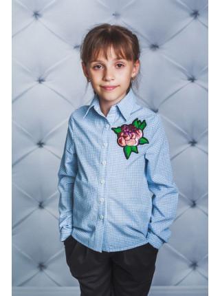 Блузка с розой в клетку и полоску