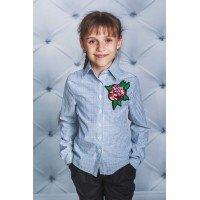 Блузка із трояндою в клітку і смужку