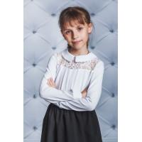Красивая блузка белая школьная с гипюром