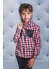 Клетчатая блузка для девочки с карманами