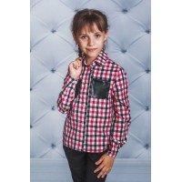 Полосата блузка для дівчинки із кишенями