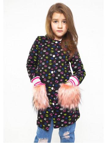 Удлиненный кардиган для девочек с меховыми карманами