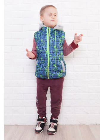 Дитяча дута жилетка з трикотажним капюшоном на хлопчика