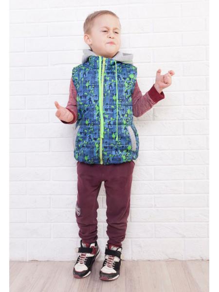 Детская дутая жилетка с трикотажным капюшоном на мальчика
