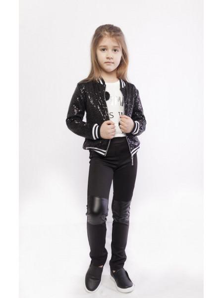Детские леггинсы с кожаными вставками