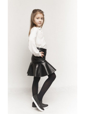 Кожаная юбка с воланом для девочки
