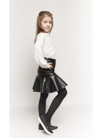 Шкіряна юбка з воланом для дівчинки