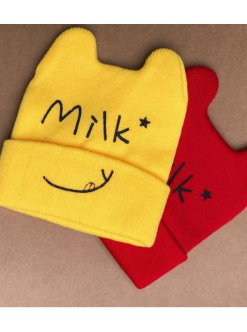 Дитяча шапка з вушками для дівчинки