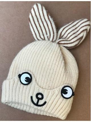 """В'язана шапка на хутрі для дівчаток """"Зайчик"""""""