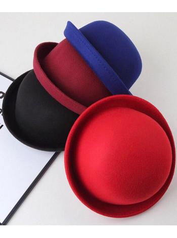Фетровая шляпка котелок для девочки
