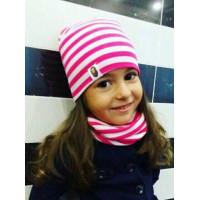 Стильний дитячий комплект в полоску: шапка і хомут