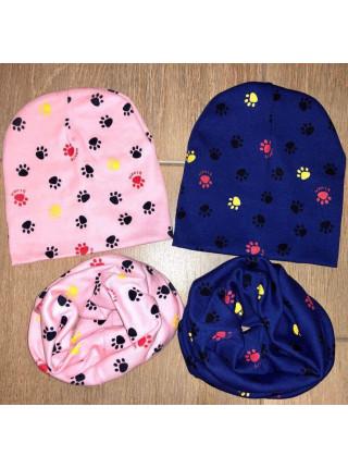 Стильна дитяча шапка і хомут для дівчинки