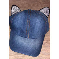 Детская джинсовая кепка с ушками