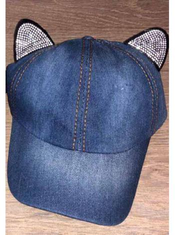 Дитяча джинсова кепка з вушками