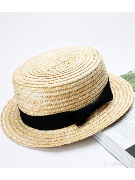 Дитячий солом'яний капелюх канотьє
