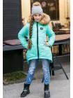 Зимняя куртка для девочки асимметричного кроя