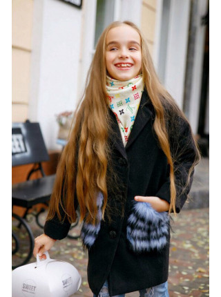 Дитяче кашемірове пальто з хутряними кишенями