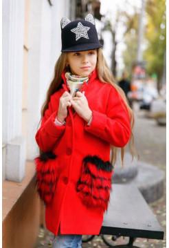Детское кашемировое пальто с меховыми карманами