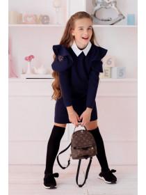 Детское школьное платье с белым воротником