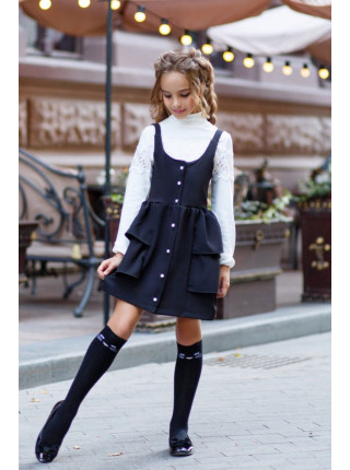 Модний шкільний сарафан з пишною спідницею
