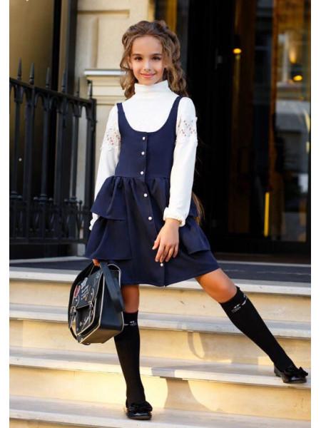 Модный школьный сарафан с пышной юбкой