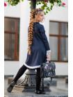 Модное школьное платье с кружевом и брошью