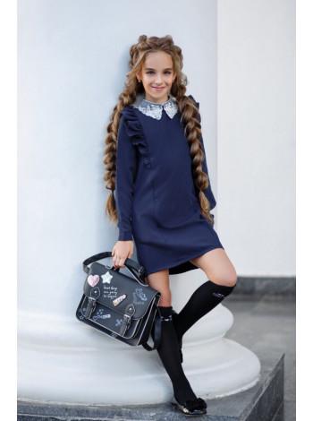 Красивое школьное платье с белым воротником