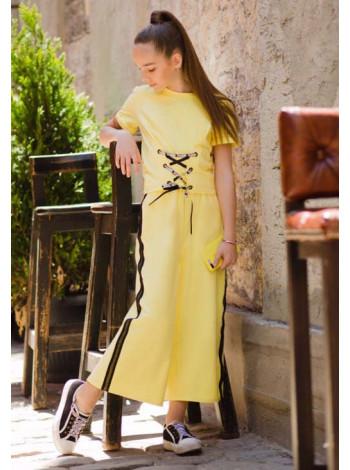 Летний костюм для девочки с брюками кюлотами