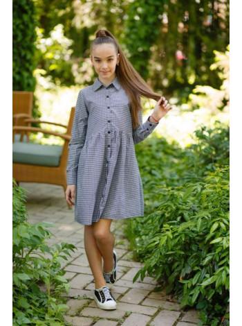 Детское платье рубашка в клетку для девочки