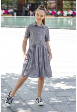 Летнее детское платье рубашка в полоску
