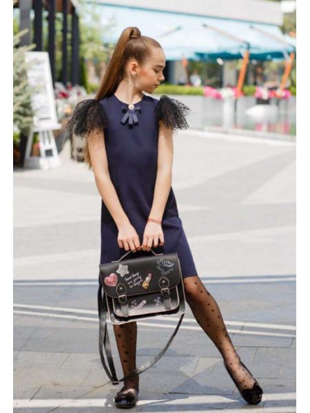 Нарядне шкільне плаття з коротким рукавом