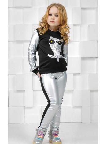 Модная кофта с кожаными вставками для девочек