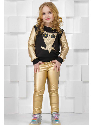 Модна кофта зі шкіряними вставками для дівчаток
