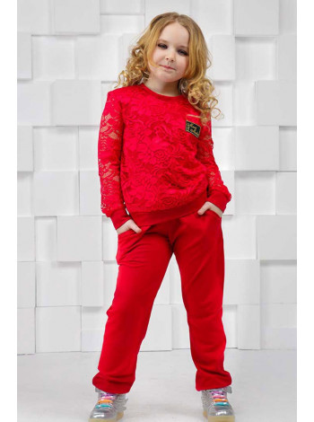 Трикотажный спортивный костюм с кружевом для девочек