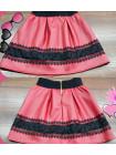 Детская кожаная юбка с кружевом