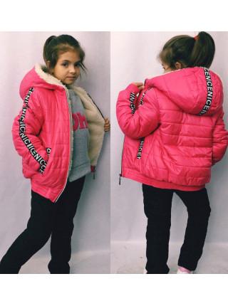 Зимовий костюм на овчині для дівчинки
