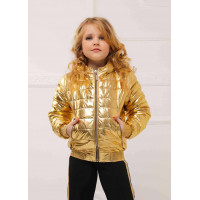 Детская короткая куртка металлик для девочки