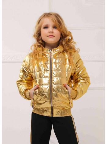 Дитяча коротка куртка металік для дівчинки
