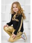 Дитячий костюм зі шкіряними лосинами для дівчинки