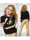 Модный костюм для девочки с кожаными леггинсами